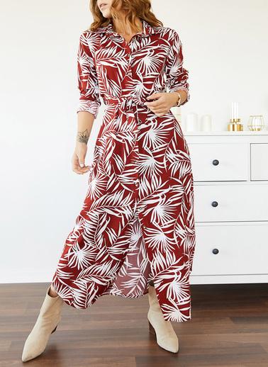 XHAN Desenli Gömlek Elbise 0Yxk6-43497-05 Bordo